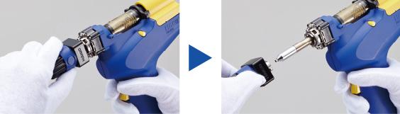 Система быстрой смены сопел обеспечивает скорость и безопасность работы с пистолетом Hakko FR-301